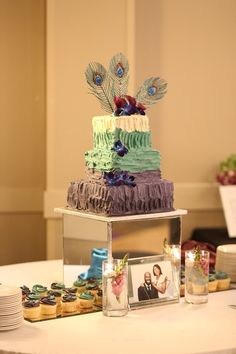 Mack got married! Here's an inside look our wedding day, and some tips we learned along the way. Wedding Cake Boxes, Purple Wedding Cakes, Box Cake, Wedding Cupcakes, Mirror Box, Late Night Snacks, Our Wedding Day, Mini Cakes, Tiered Cakes