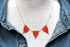 Pyramid Fringe Beaded Necklace Red Bead Necklace Amy FIne Design