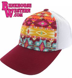 #GetYourHOOey, Low-Profile Trucker, Aztec Print Cap, Rodeo, Cowboy Hat, Cowgirl Up, Roping, $29.98, http://bunkhousewestern.com/AHT