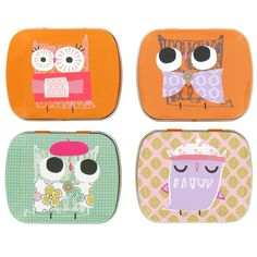 Set of 4 mini tins featuring our cute Hootsweet owl design in orange, green and pink.