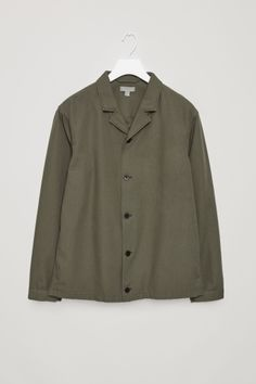 COS image 2 of Button-up canvas jacket in Khaki Green