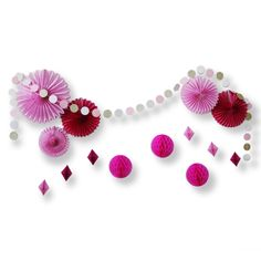 Find More Party DIY Decorations Information about Set of 15 Fuchsia Pink Paper Decorations Paper Fan/Honeycomb Ball/Circle Garland  Photo Backdrops for Wedding Valentines ,High Quality Party DIY Decorations from paperjazz Store on Aliexpress.com