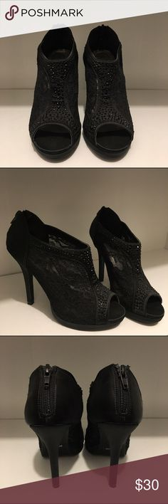 Black lace heel No Paypal. No trades. No low ballers. Color: Black Size: US 7 1/2 Heel size: 4 1/2 Cute fancy bootie opened heel with lace and black pearls. They have only been worn once or twice. In great condition. Really comfortable. Cute for any occasion. Any questions or offers let me know! Thank you!!! Shoes Heels