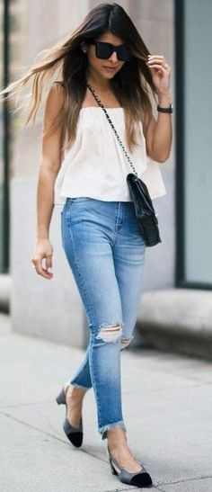 60 Trending And Feminine Summer Outfit Ideas White Off The Shoulder Top + Denim + Chanel Pumps Summer Wedding Outfits, Summer Outfits Women, Casual Dresses For Women, White Dress Summer, Summer Dresses, Dusty Pink Dresses, Chanel Pumps, Outfits, Dressing Rooms