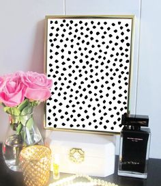 Black Abstract Dot Print - Gifts for her - Office Decor