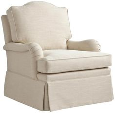 """Camel-Back Lounge Chair  (235)  This camel-back lounge chair features sloping arms and a loose-pillow back which echoes the graceful shape of the back. This chair can be accompanied by a matching ottoman, 23. Both available with a waterfall flounce the chair, 236 and ottoman, 24.     COM required: 11 yards plain fabric.  Width: 32.0"""" (81.5cm) Depth:39.0"""" (99cm) Height:37.5"""" (95cm) Arm Height:24.0"""" (61cm) Seat Height:20.0"""" (51cm) Seat Width:22.75"""" (58cm) Seat Depth:21.75"""" (55cm)"""