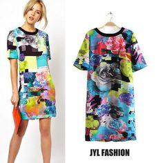 Jyl 2014 de la moda de primavera/verano moderno abstracto color de la mezcla fuzzy patrón floral de impresión de la rodilla- longitud vestido de las mujeres, vestidos de manga corta