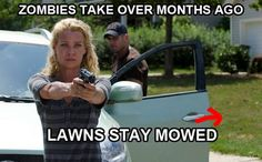 Hmmm... Zombies like to mow grass?