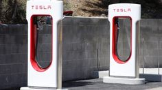 A Tesla charging station in California. Tesla has made a deal with a state-owned Chinese phone carrier to build 400 new charging stations in China. Read MORE: http://www.cbc.ca/news/business/tesla-motors-inks-deal-to-build-400-charging-stations-in-china-1.2750767