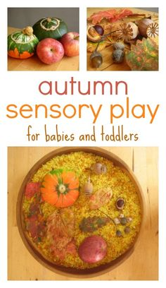 Autumn sensory play ideas for babies and toddlers: beautiful, natural play materials.
