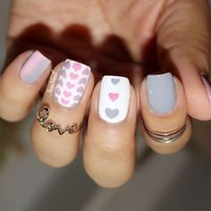 Create lovely nails with these fun heart nail stencils ~ Heart patterns go with every season and work with any color combinations you paint and ombré on! You can also use the inside hearts as tiny hea Frensh Nails, Love Nails, Diy Nails, Fabulous Nails, Gorgeous Nails, Pretty Nails, Heart Nail Art, Heart Nails, Acrylic Nail Designs
