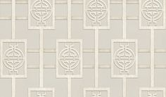 Sansui French Grey (NCW4181-02) - Nina Campbell Wallpapers - An elegant ornamental trellis named after a garden in Shanghai, was inspired by a Chinese screen which Nina commissioned for a client. Shown here in French grey. Other colourways are available. Please request a sample for a true colour match. Large scale pattern repeat.