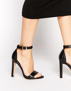 Windsor Smith Desiree Black Leather Barely There Heeled Sandals