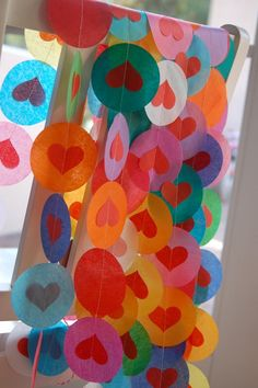 Tissue Garland - Rainbows and Hearts.