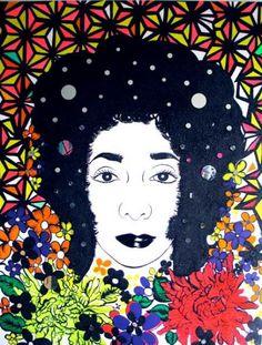 "Carolyn Castaño, Tropical Baby (Self Portrait), 2007, acrylic, glitter, tape, rhinestones and mirrors on canvas,  72"" x 56"" #chicanoart"