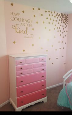 Finishing up Ps room. Super excited about how this came out. Gold decals on the soft pink wall. An old dresser with a fresh ombre pain job. Pink Bedroom For Girls, Pink Bedroom Decor, Gold Bedroom, Pink Room, Little Girl Rooms, Bedroom Ideas, Baby Room Wall Decor, Wall Decals For Bedroom, Baby Decor