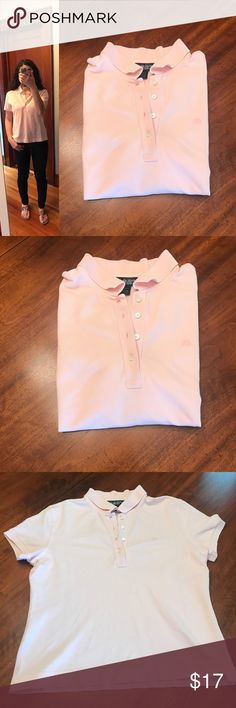 """Brooks Brothers Country Club light pink polo Brooks Brothers Country Club light pink polo, size L. This top is in great pre-loved shape! Has a somewhat waffled look to it, and the material is nice and substantial. A great, preppy piece! Approx. measurements when laid flat: 19"""" pit to pit, 21.5"""" shoulder to hem. 97% cotton, 3% spandex. Machine wash, tumble dry. Brooks Brothers Tops"""