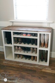 I built this awesome shoe storage cabinet and it's the first piece in an entire modular closet storage system! Diy Shoe Storage, Diy Shoe Rack, Shoe Storage Cabinet, Closet Storage, Closet Organization, Shoe Racks, Cabinet Closet, Shoe Rack For Boots, How To Build Shoe Storage