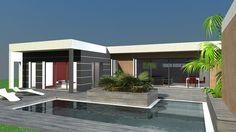 Maison contemporaine en C à toit terrasse et bardage bois et composite - Atelier Scénario