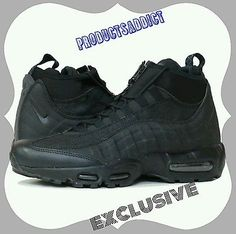 8592b63ac5 Nike Air Max 95 Winter Black/Black All Triple Blackout Zip Sneaker Boot  size8.