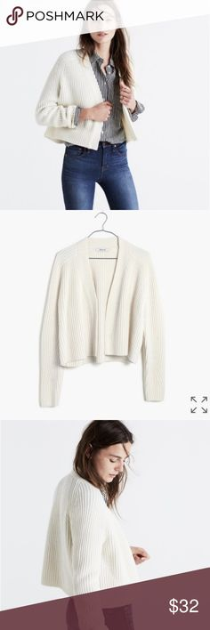 """Maxwell cropped antique cream cardigan 100% merino wool cropped open front cardigan from Madewell. Gorgeous shape and drape, thick and warm. Generous sizing, I am usually a small but the extra small fit great. About 22"""" from armpit to armpit. Minor pilling which can easily be removed - my fuzz shaver is broken but if I get it working again I'll take a pass at the cardigan before shipping. I do have a white cat so there might be a few hairs poking out since it's a chunky knit. Dry clean…"""