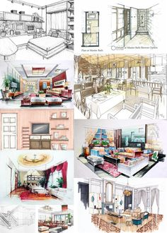 Interior Architecture Drawing, Interior Design Renderings, Plans Architecture, Architecture Concept Drawings, Interior Rendering, Interior Sketch, Architecture Portofolio, Sketches Arquitectura, Interior Design Presentation