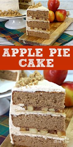 Apple Pie Cake is a yummy / #Apple #Cake #Pie #yummy Fall Dessert Recipes, Fall Desserts, Delicious Desserts, Yummy Food, Apple Pie Recipes, Apple Desserts, Cake Recipes, Yummy Recipes, Apple Cinnamon Cake