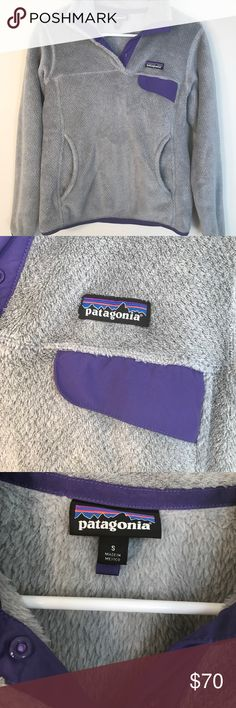 Patagonia Women's Retool Fleece Pullover Pre-owned Patagonia Re-Tool Snap T Fleece Pullover. Grey and purple. Patagonia Tops Sweatshirts & Hoodies