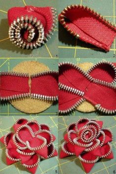 Best Zipper flowers ideas on Zipper Flowers, Felt Flowers, Diy Flowers, Fabric Flowers, Zipper Bracelet, Zipper Jewelry, Fabric Jewelry, Zipper Crafts, Denim Crafts