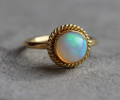 OOAK 22K Gold Opal ring - Natural Opal Ring - Engagement ring - Artisan ring - October birthstone - Bezel ring - Gift for her