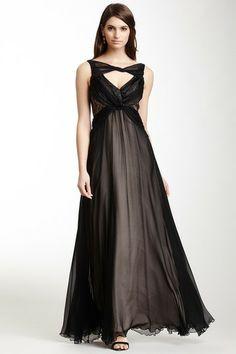 A.B.S. by Allen Schwartz Twisted Neck Drape Silk Gown on HauteLook