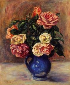 Pierre Auguste Renoir Roses in a Blue Vase - The Largest Art reproductions Center In Our website. Low Wholesale Prices Great Pricing Quality Hand paintings for salePierre Auguste Renoir Pierre Auguste Renoir, Oil Canvas, Canvas Art, August Renoir, Renoir Paintings, Oil Painting Reproductions, Claude Monet, French Artists, Botanical Art
