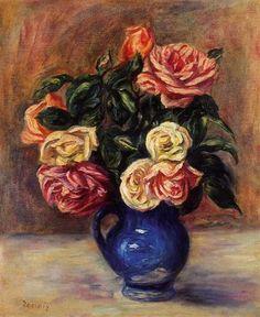 Roses in a Blue Vase - Pierre-Auguste Renoir