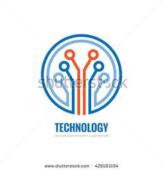 Technology - vector logo concept illustration for corporate identity. Sound Logo, Vector Technology, Internet Logo, Logo Sign, Logo Concept, Bitcoin Mining, Corporate Identity, Tech Logos, Ux Design
