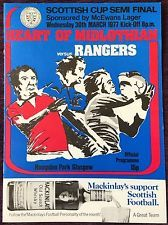 Rangers 2 Hearts 0 in March 1977 at Hampden Park. Programme cover for the Scottish Cup Semi Final.
