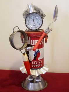 Robot Assemblage, Altered Art, KITCHEN QUEEN Great Christmas or Hanukkah Gift Idea!