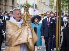 Grand Duke Henri and Grand Duchess Maria Teresa, Hereditary Grand Duke Guillaume and Hereditary Grand Duchess Stéphanie, Prince Félix and Princess Claire of Luxembourg attended the Pontifical Mass at Notre-Dame Cathedral in Luxembourg, on May 21, 2017, as part of the Catholic Octave celebrations.