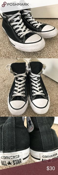 Converse Chuck Taylor Chucks High Tops Black EUC Excellent pre-owned condition, Converse High Top Sneakers in women's size 9 and men's size 7.    All reasonable offers will be considered.  Make a bundle and I'll send you a special discounted offer.    Comes from my clean, smoke/pet free home.   Thanks for looking! Converse Shoes Sneakers