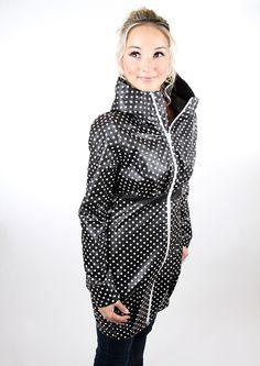 Regenmäntel - Letztes Stück Gr. L Regenmantel Schwarz Punkte - ein Designerstück von meko bei DaWanda