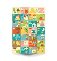 A3+Impresión+del+Arte++'mi+A+la+Z'++arte+feliz+/+por+stephsayshello,+£18.00