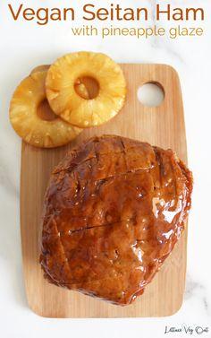 Make this delicious homemade vegan ham for the perfect dinner. Since this is a pineapple maple glazed vegan ham, you're sure to impress anyone who tries this delicious roast. #vegan #ham #veganham #veganrecipe #veganprotein #veganholiday #veganthanksgiving #veganchristmas #veganeaster #pineapple #maple #vegetarian #plantbased #seitan Vegan Chickpea Recipes, High Protein Vegan Recipes, Vegan Dinner Recipes, Vegan Dinners, Tofu Recipes, Roast Recipes, How To Make Seitan, Vegan Seitan Recipe, Vegan Thanksgiving