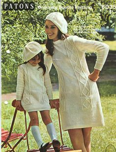 "Patons 6035: Great vintage pattern from 1960's for dress and beret for mother and daughter, or sisters in fashion. Knitted in double knitting to fit 24"" -27"" chest,34"" to 38"" bust."