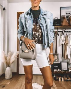 Ladies I had so many requests for a how-to style video featuring biker shorts! Winter Shorts Outfits, Jean Jacket Outfits, Legging Outfits, Summer Outfits, Outfits With White Shorts, Summer Clothes, Fall Outfits, Short Outfits, Chic Outfits