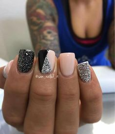 Glitter and pink nails
