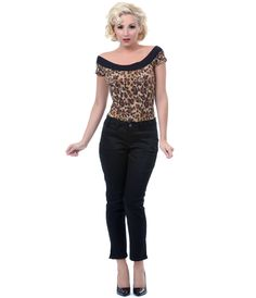 1950s Style Top-  Leopard Mandie Bee Marilyn Knit Top $40.00  #1950sfashion #retrofashion #pinup