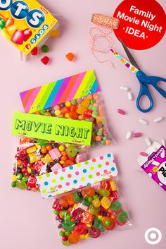 Customizable concessions are just the ticket for family movie night. Get plastic bags, craft paper, string and everyone's favorite candy to mix together. And, don't tell anyone but this DIY is also great for theater snack sneaking. Shhhh!