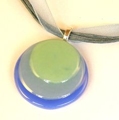 Blue and Green Circles Fused Glass Pendant Necklace on Ribbon Cord Necklace. $20.00, via Etsy.