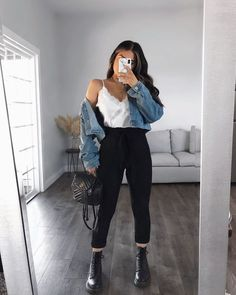Trendy Fall Outfits, Cute Comfy Outfits, Edgy Outfits, Winter Fashion Outfits, Retro Outfits, Mode Outfits, Simple Outfits, Look Fashion, Spring Outfits