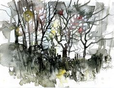 Paul Steven Bailey (!) Black thicket Abstract Tree Painting, Watercolor Trees, Watercolor Landscape, Abstract Watercolor, Abstract Landscape, Landscape Paintings, Watercolor Paintings, Abstract Trees, Watercolour