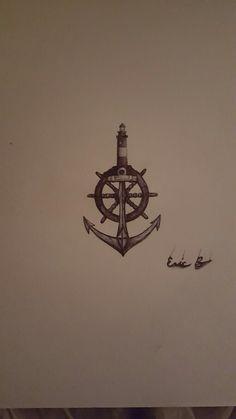 #lighthouse #anchor #shipwheel #tattoo #ballpoint #drawing #tattoo idea